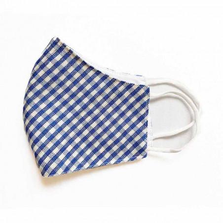 FacemaskN-mundbind-ansigtsmaske - Irma blå/hvide tern - genanvendelig comfort-maske facemask