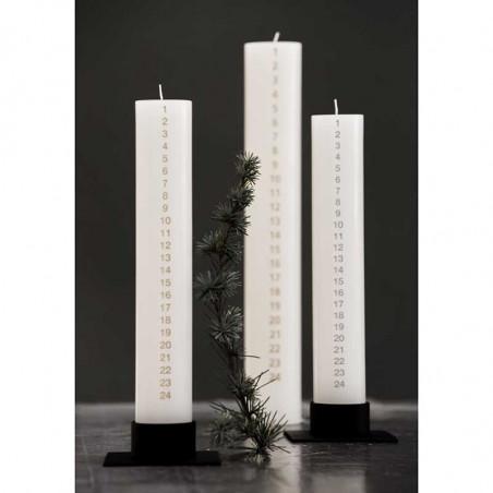 Kunstindustrien Kalenderlys, 5x30 cm, Hvid/Sølv Juledekorationer med kalenderlys