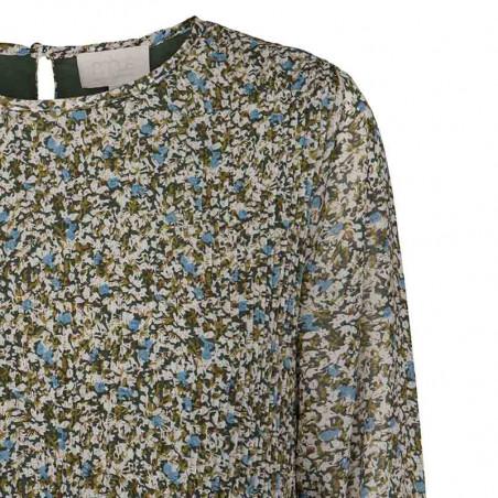 Minus Bluse, Rikka, Greenery Print detalje - Minus fashion online