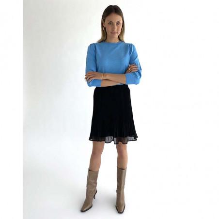 Minus Bluse, Mersin, Blue Sky Melange Minus strik bluse på model look