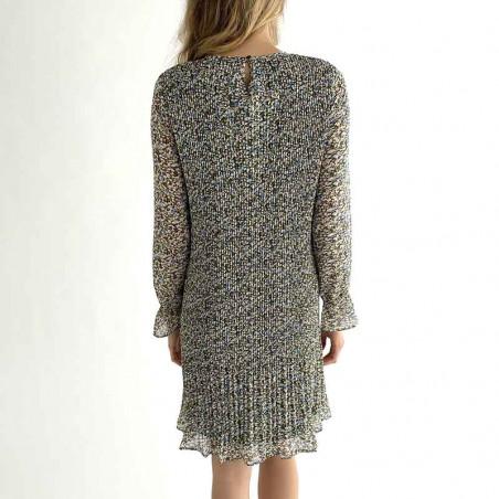 Minus Kjole, Rikka, Greenery Print Minus tøj kjole på model ryg
