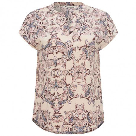 PBO Bluse, Dust, Light Taupe Print pbo group dametøj PBO silkebluse