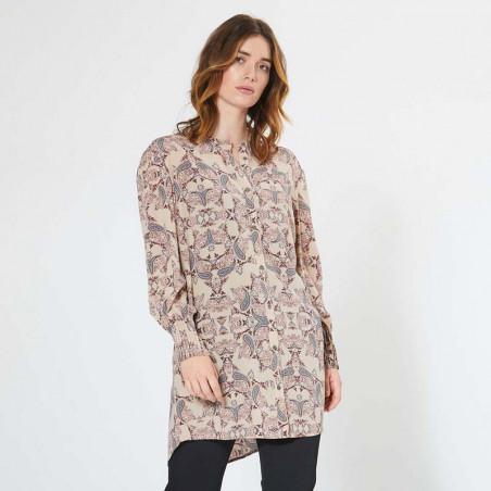 PBO Skjorte, Carnation, Light Taupe Print PBO group dametøj detalje