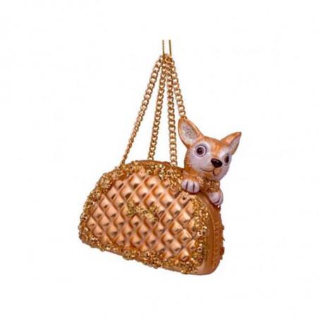 Vondels Julepynt, Dog In Bag, Gold Vondels Juledekoration