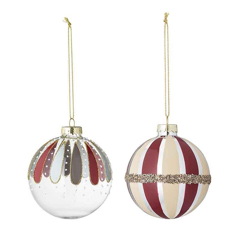 Bloomingville Julekugler 2 stk m/striber  Juleornamenter, glaskugler med dekoration