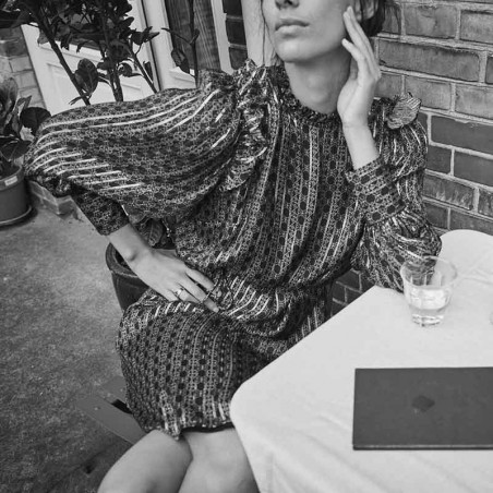 Mos Mosh Kjole, Randi Tile dress, Black model
