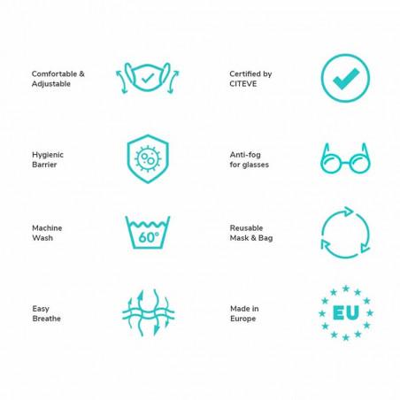 Kowikowi - facemask A Forest Green comfort-maske facemask CE mærket mundbind egenskaber