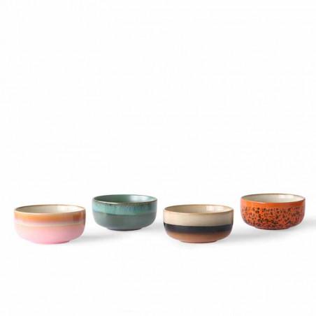HK Living Skåle, Ceramic 70's Dessert, Sæt med 4 stk HkLiving dessert skåle i keramik på række