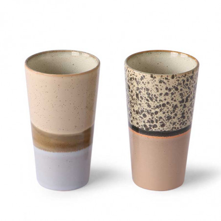HK Living Krus, Ceramic 70'er Latte Mugs, Beige mix  Sæt med 2 stk krus HK Living Danmark hk living dk