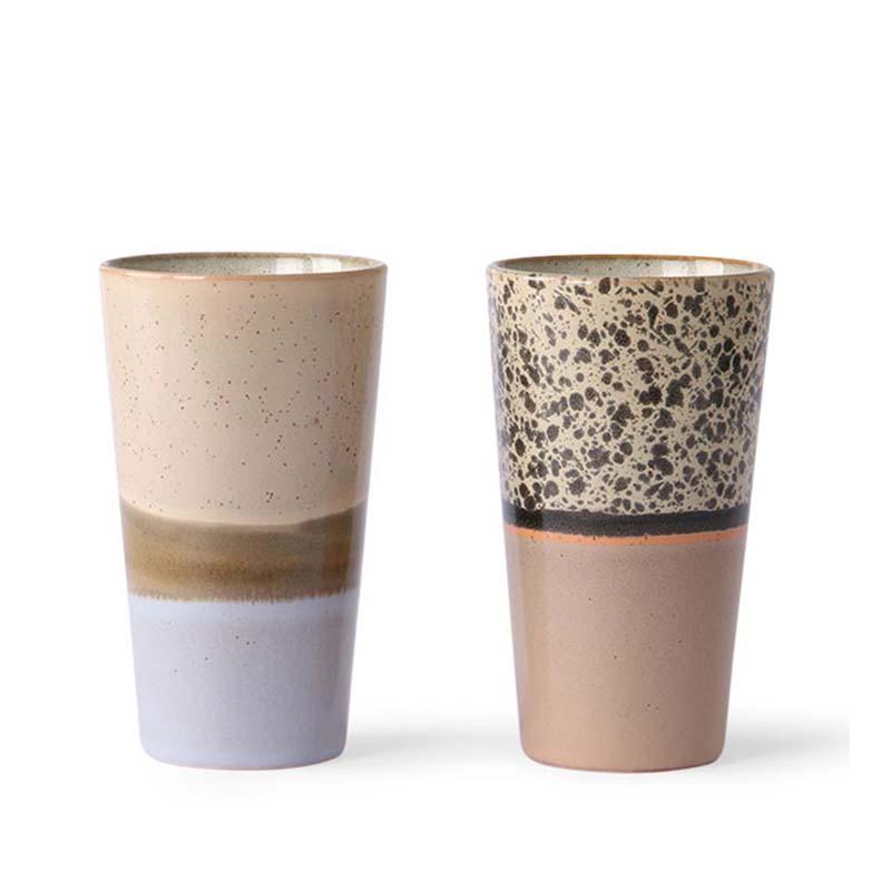 HK Living Krus, Ceramic 70'er Latte Mugs, Beige mix  Sæt med 2 stk HK Living Danmark hk living dk