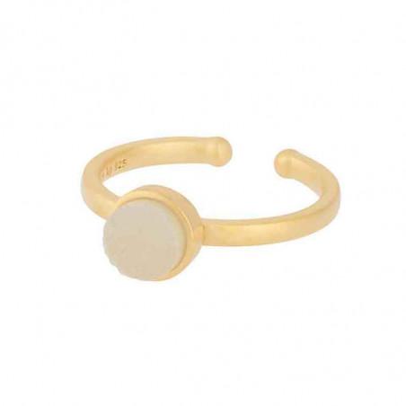 Pernille Corydon Ring, Small Haze, White Druzy/Guld