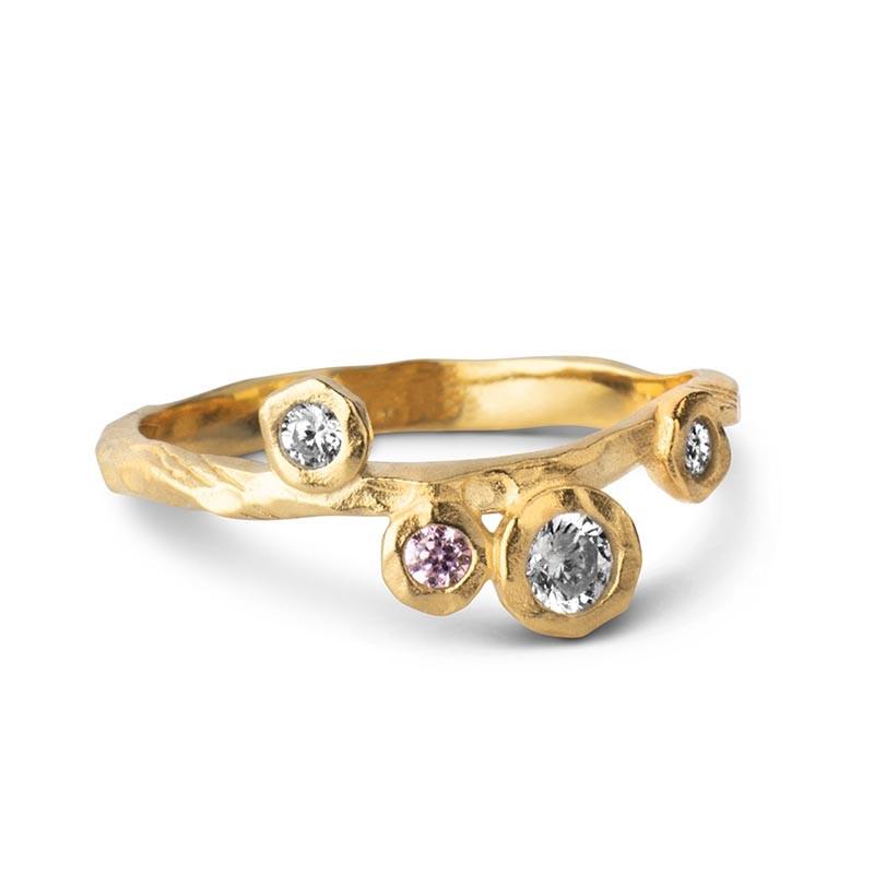 Enamel Ring Rose, Guld Enamel smykker