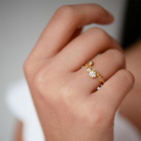 Enamel Ring Rose, Guld på model