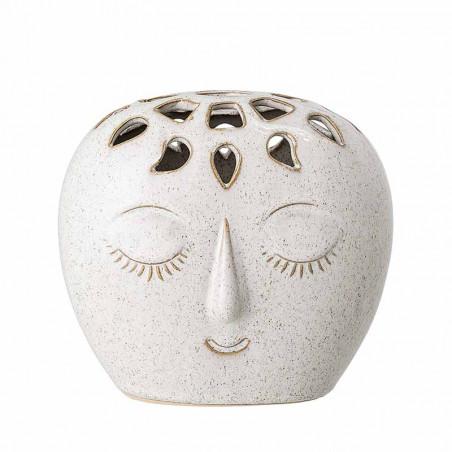 Bloomingville Vase, Rund Ansigt Stentøj, Hvid