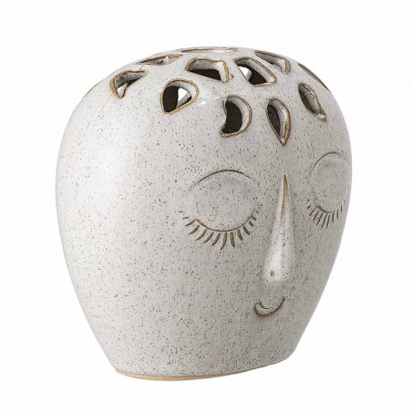 Bloomingville Vase, Rund Ansigt Stentøj, Hvid side