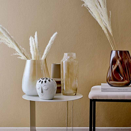 Bloomingville Vase, Rund Ansigt Stentøj, Hvid på bord