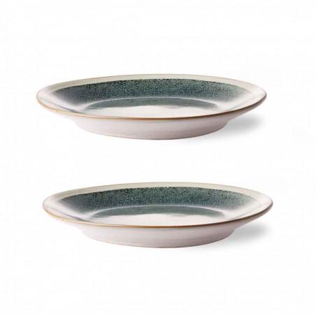 HK Living Tallerken, Ceramic 70's Sæt af 2, Mist HK Living Tallerkener fra side