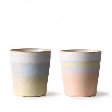 HK Living Krus, Ceramic 70'er Horizon, 2 stk Speciel selection Sunrise & Sunset