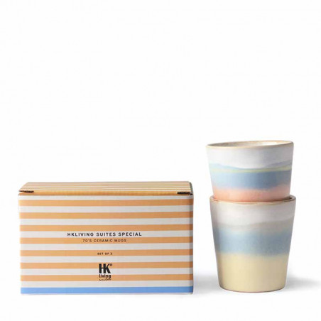HK Living Krus, Ceramic 70'er Horizon, 2 stk Speciel selection Sunrise & Sunset gavesæt