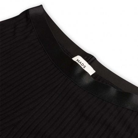 Mads Nørgaard Bukser, Solid Lonnie 5x5, Black Mads Nørgård bukser detalje top