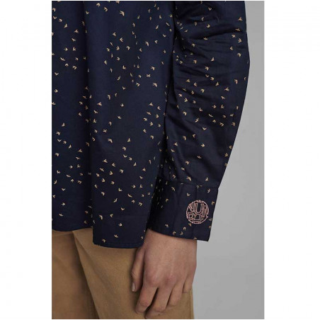 Nümph Skjorte, Nuchara, Dark Sapphire Numph shirt ærme detalje