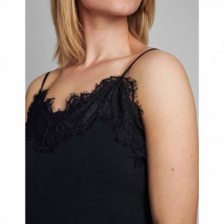 Nümph Underkjole, Nubowie Long Singlet, Caviar Numph kjole på model detalje
