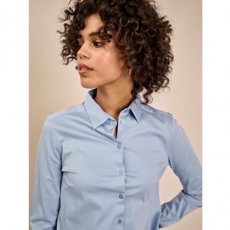 Mos Mosh Skjorte, Tina Jersey, Bel Air Blue på model