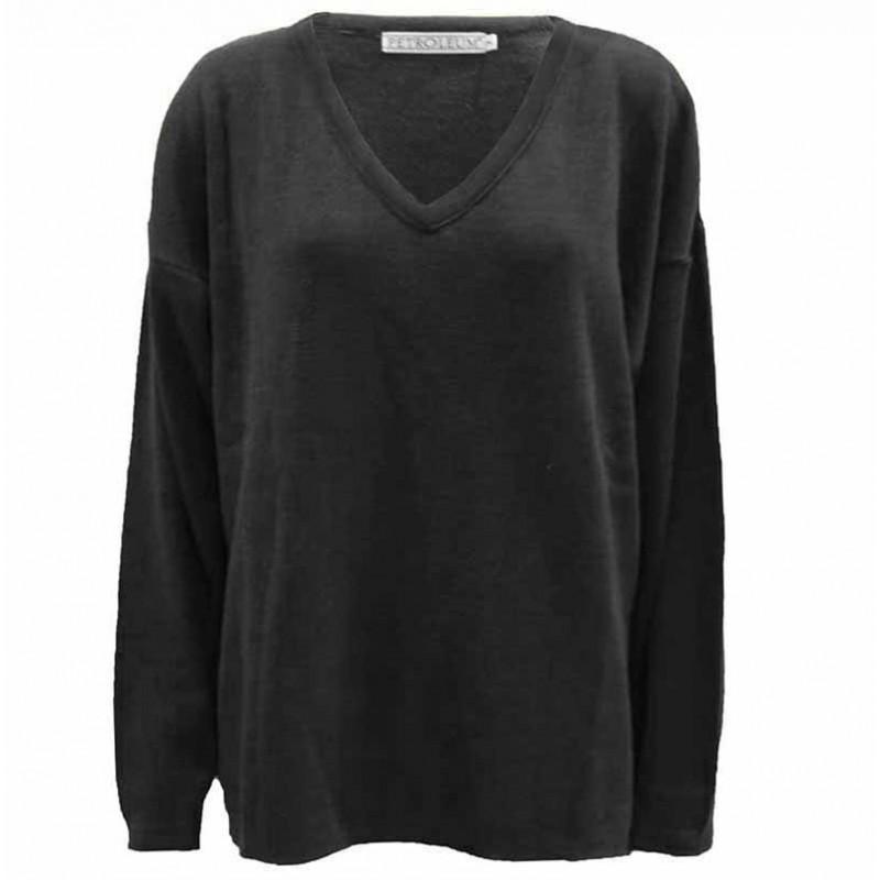 Petroleum strik, V-Neck Pullover, Grey