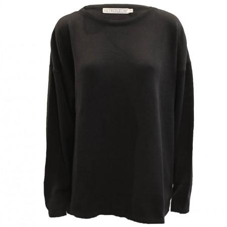 Petroleum strik, O-Neck Pullover, Black