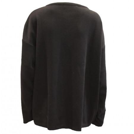 Petroleum strik, O-Neck Pullover, Black ryg