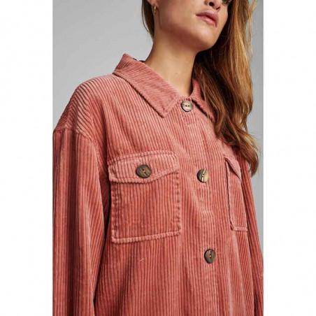 Nümph Skjorte, Nucalah Overshirt, Ash Rose Numph fløjlsskjorte-jakke detalje