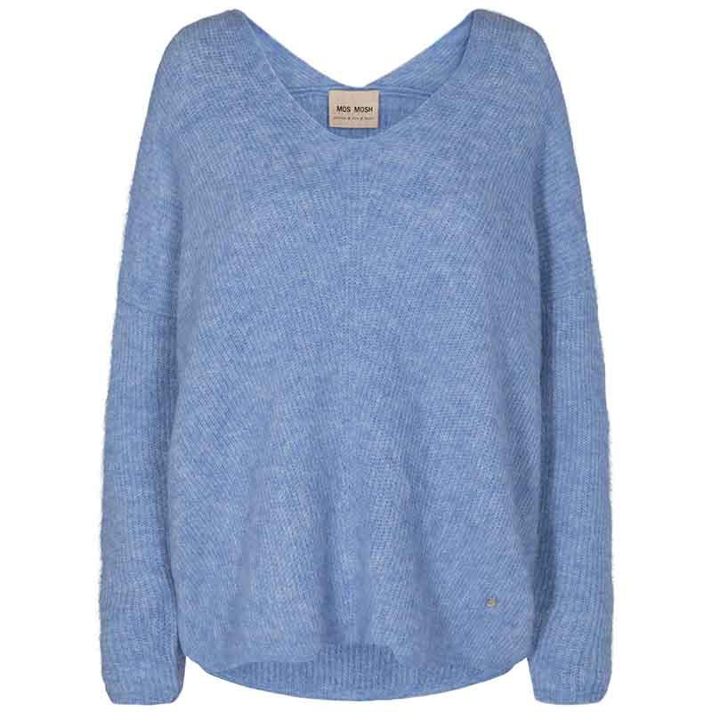 Mos Mosh Strik, Thora V-neck sweater, Bel Air Blue