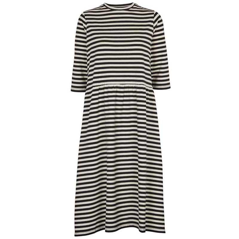 Basic Apparel Kjole, Elba dress, Black-Off White striber.