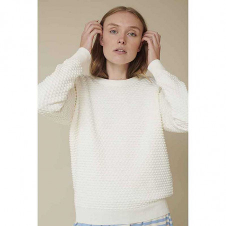 Basic Apparel Strik, Vicca sweater, Off white Bluse på model