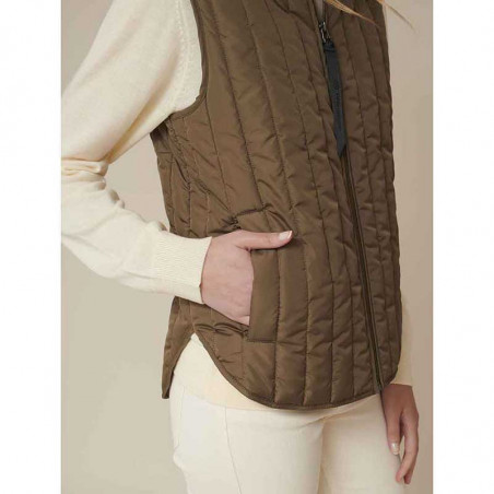 Basic Apparel Vest, Louisa Short vest jackets, Capers Green Quiltet vest detalje