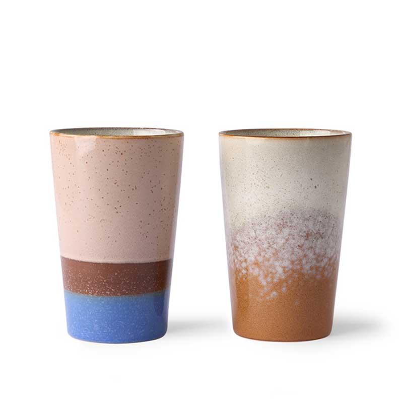 HK Living Krus, Ceramic 70'er Tea Mugs, 2 stk, Blue/Ochre