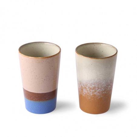 HK Living Krus, Ceramic 70'er Tea Mugs, 2 stk, Blue/Ochre tekrus i keramik