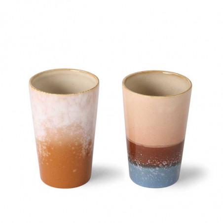 HK Living Krus, Ceramic 70'er Tea Mugs, sæt med 2 stk, Blue/Ochre tekrus i keramik variant