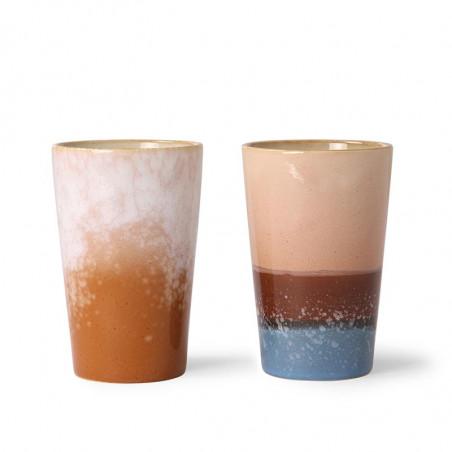 HK Living Krus, Ceramic 70'er Tea Mugs, 2 stk, Blue/Ochre tekrus i keramik variant