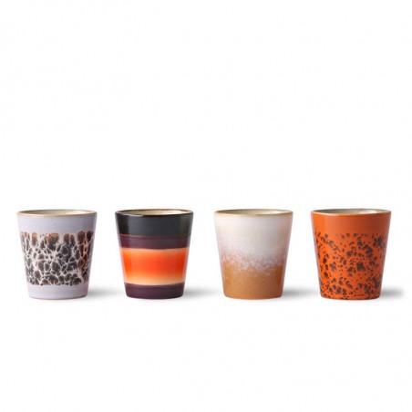 HK Living Kopper, Ceramic 70's Ristretto Mugs 4 stk, Multi HKliving DK keramik krus orange brun