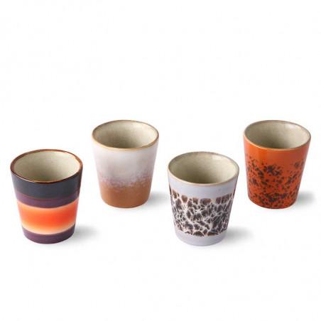 HK Living Kopper, Ceramic 70's Ristretto Mugs 4 stk, Multi HKliving DK keramik krus oppefra