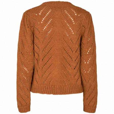 Nümph Cardigan, Nubritney, Leather Brown, Numph tøj, Nümph strik - Bagside