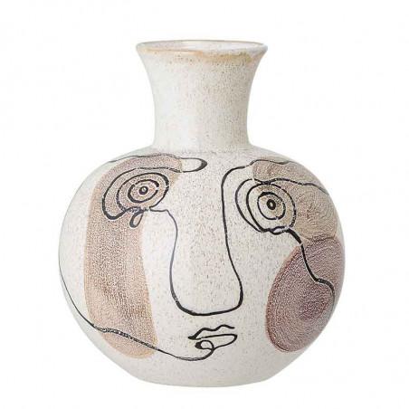Bloomingville Vase, Stor m/ansigt, Hvid Bloomingville stentøjsvase