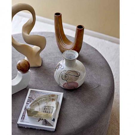 Bloomingville Vase, Stor m/ansigt, Hvid Bloomingville stentøjsvase i miljø