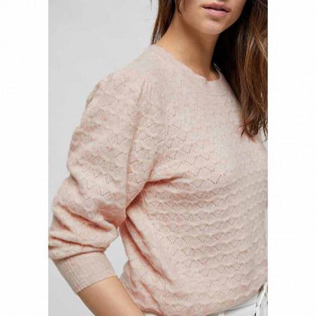 Minus Strik, Diana knit Pullover, Lavender Frost detalje