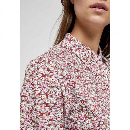 Minus Bluse, Rasmina Shirt, Pink Flower Print detalje