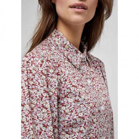 Minus Kjole, Rasmina Dress, Pink Flower Print detalje Minus Fashion