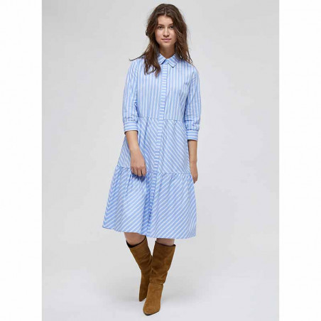 Minus Kjole, Dalina Dress, Powder Blue Stripe på model
