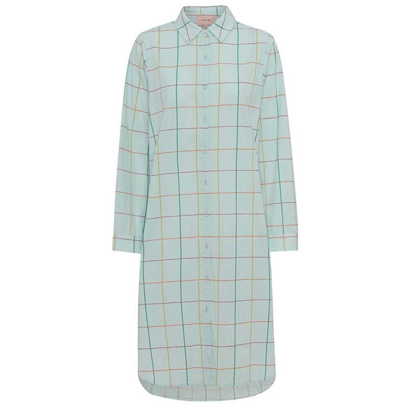 Hunkøn Kjole, Nita Shirtdress, Turquoise Checked Hunkøn skjortekjole