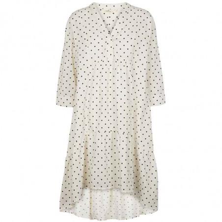 Basic Apparel Kjole, Abby Dress Dot, Off White/Black sommerkjole med prikker